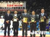 左から、髙田専務理事、東広島ジュニア、斑鳩クラブ、大阪竹中道場、焼津ジュニア